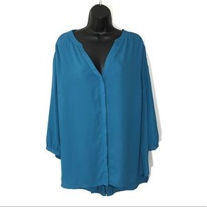 NYDJ Blue Button Up Blouse a Size 1X